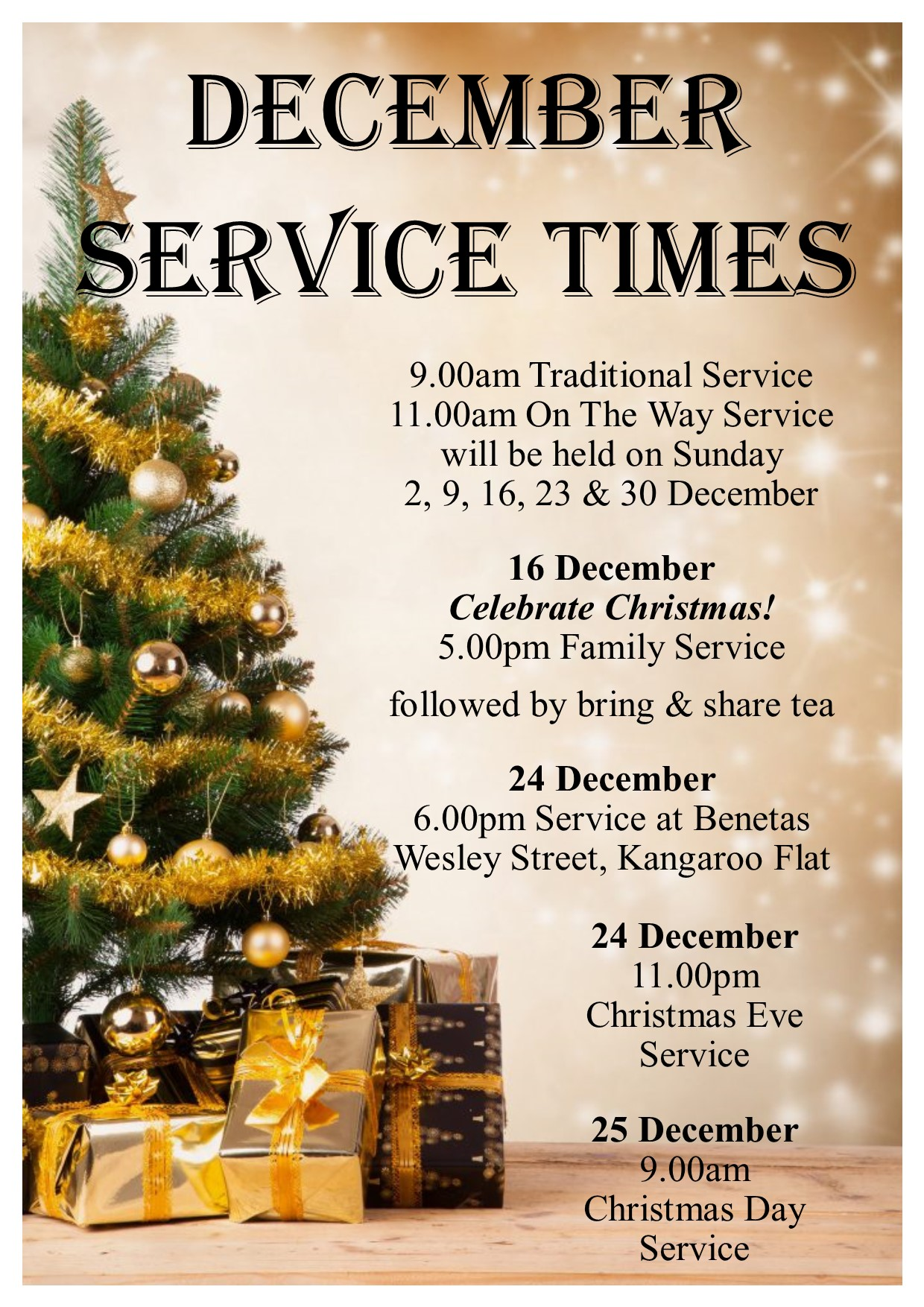 2018 Christmas Services A4 Poster
