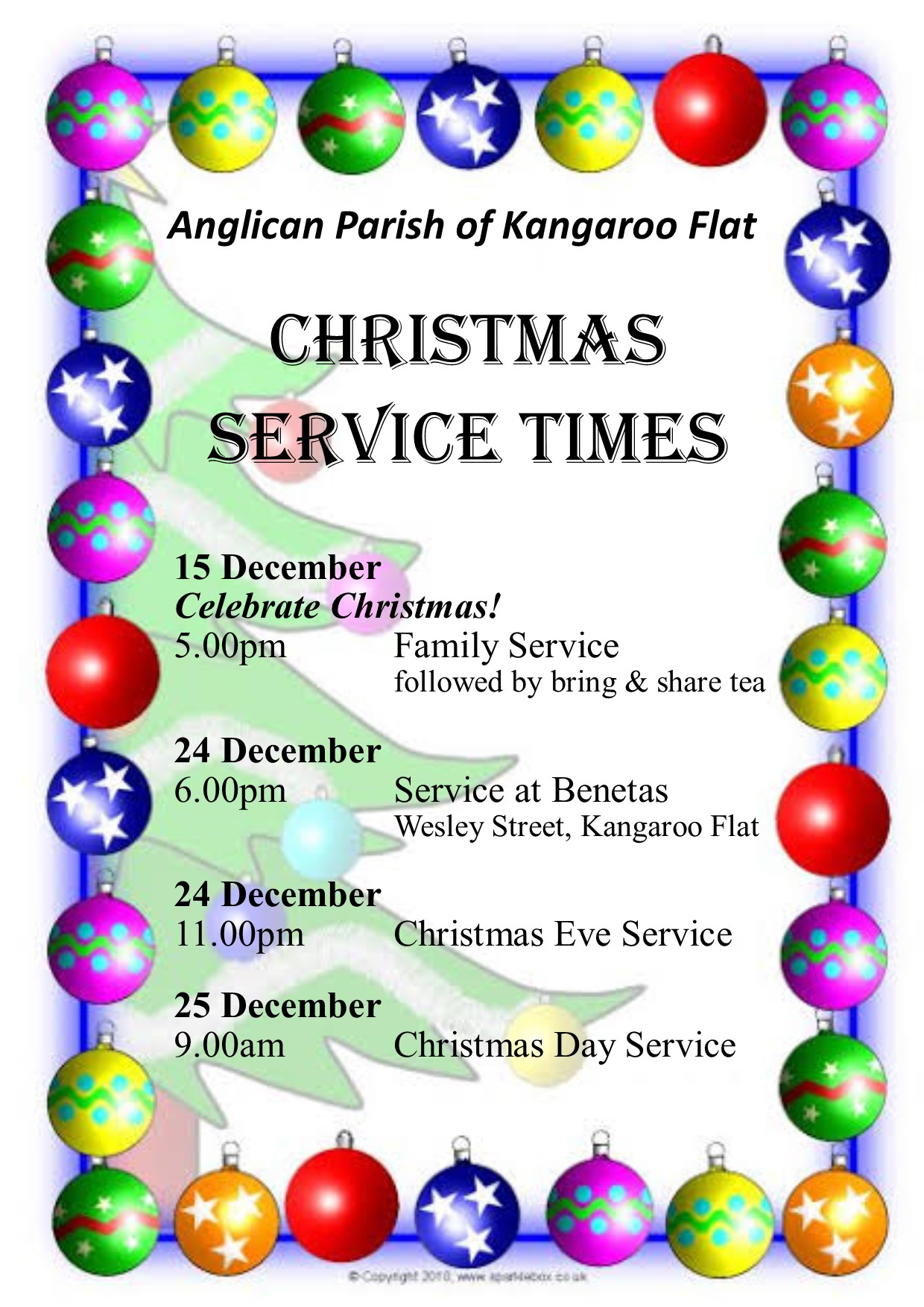 2019 Christmas Services A4 Poster